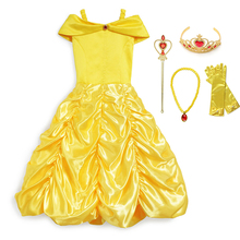 все цены на Girls Princess Belle Dress Kids Costume Beauty and the Beast Ball Gown Bella Fancy Dress for Girl Cosplay Halloween Party Dress