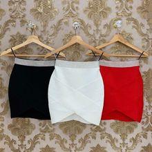 Высококачественная красная, черная, белая, золотая, серебряная, с талией, из вискозы, мини-бандажная юбка, вечерние юбки для ночного клуба