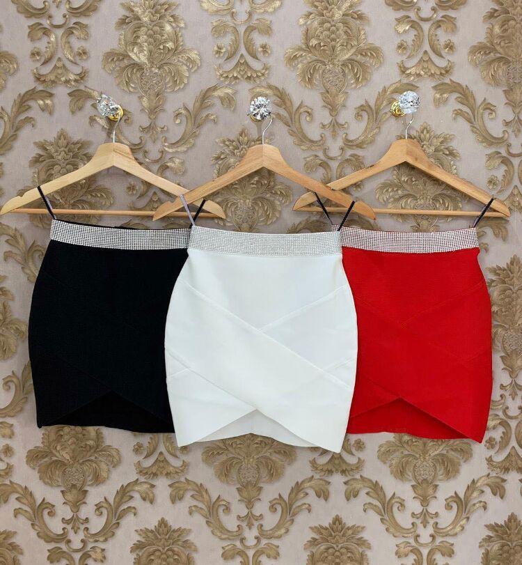 High Quality Red Black White Gold Silver Waist Rayon Mini Bandage Skirt Night Club Party Skirt