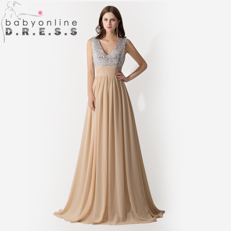 New Style V Neck Sequine Chiffon Champagne Evening Dress Long 2016 a448ea8d8
