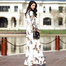 Customize Made Autumn Winter  Fashion Women Casual Plus Size O Neck Slim Fit Cute Cat Print Maxi Long Ankle-Length Dress White