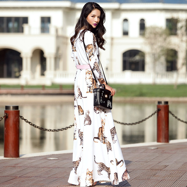 60abb0a80d5 Customize Made Autumn Winter Fashion Women Casual Plus Size O Neck Slim Fit  Cute Cat Print Maxi Long Ankle-Length Dress White