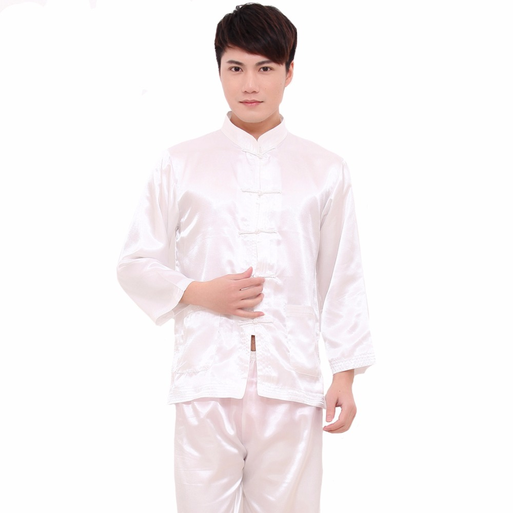 White Chinese Style Men Rayon Soft Pajamas Suit Long Sleeve Shirt&Pant Sleepwear Vintage Single Breasted Pyjamas M L XL XXL
