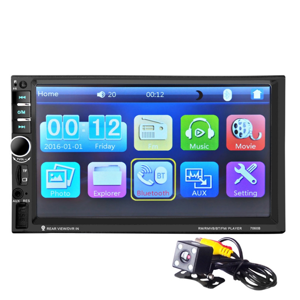 Newest 7 inch Auto Car MP5 Video Player Bluetooth Touch Screen and Rearview Camera Support MP3 USB TF Card AUX FM Remote Control ks 508 mp3 player stereo headset headphones w tf card slot fm black