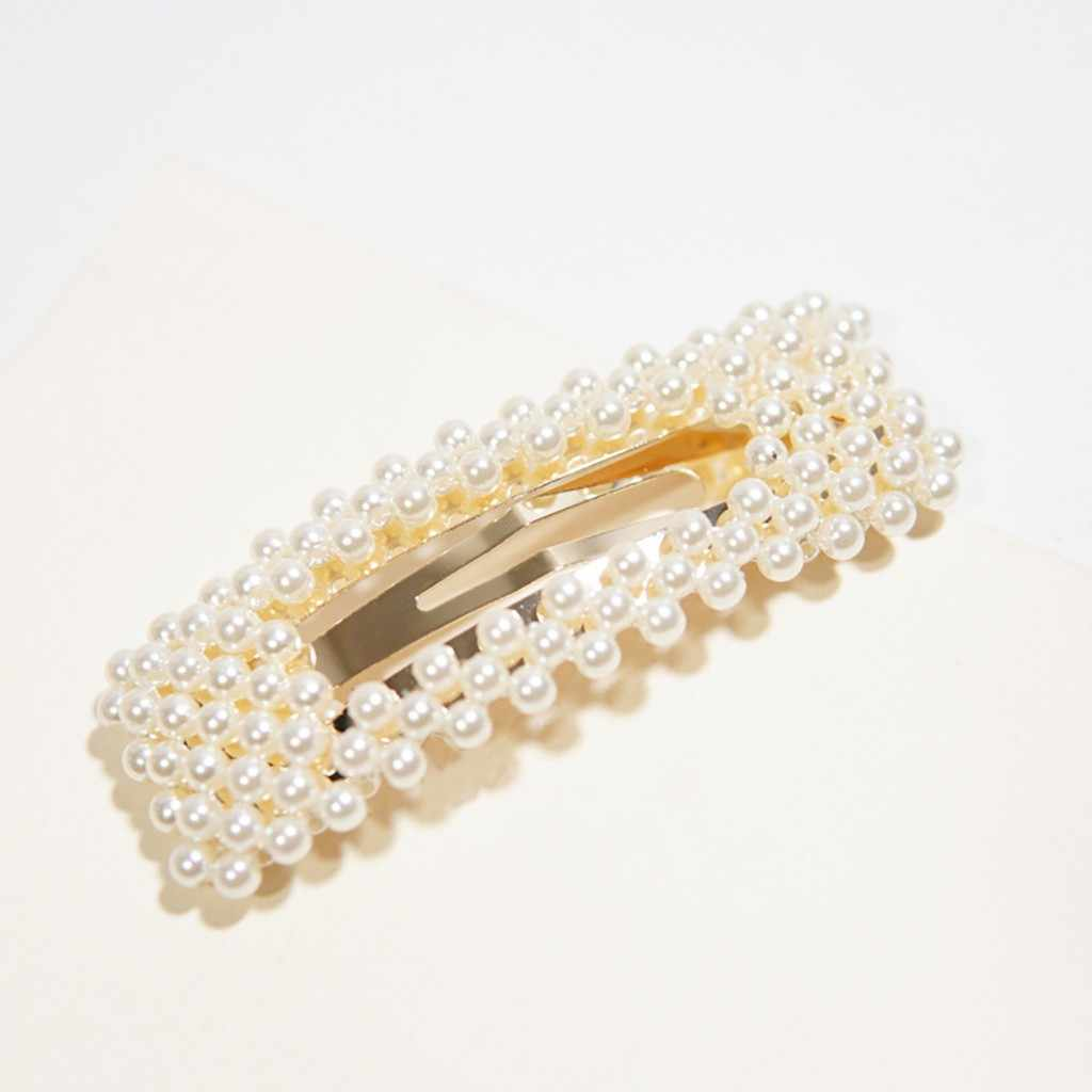 INS Hot Hair Clip Women Rectangle Sweet Barrettes Shiny Pearl Hairpins Barrettes Headband Hair Accessories gift