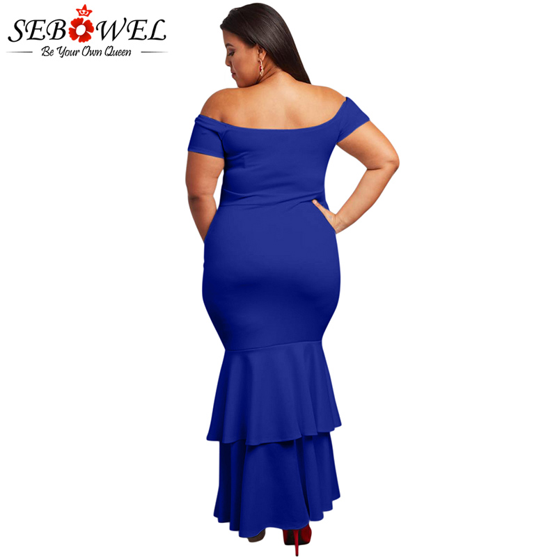 SEBOWEL Elegant Plus Size Red Bodycon Party Dress Women Sexy Off Shoulder  Maxi Dress Big Size Formal Strapless Evening Gown-in Dresses from Women s  Clothing ... a7f5a5d1d378