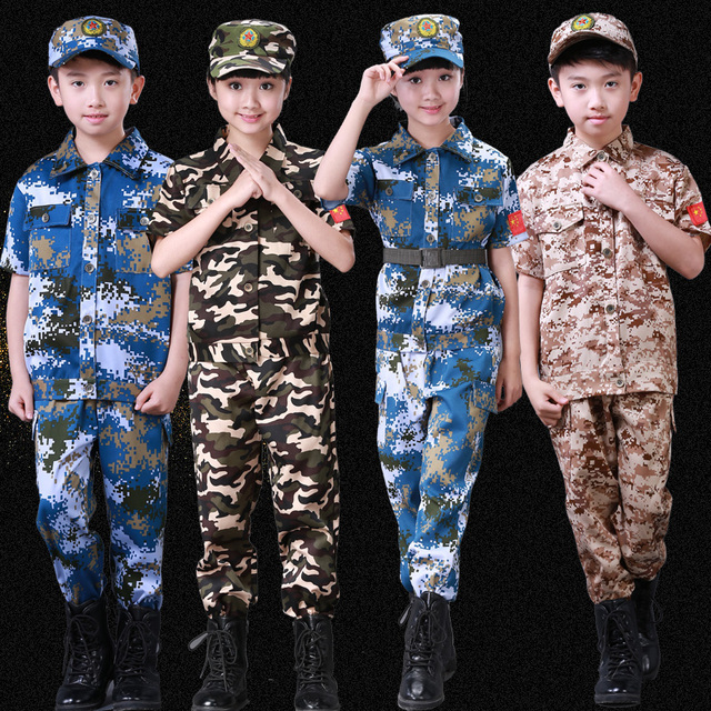 bf92934458c Jongens Meisjes Mode Camouflage Kleding Set Kid Militaire Uniform Kleding  kinderen Leger Pak Prestaties Podium Kostuum