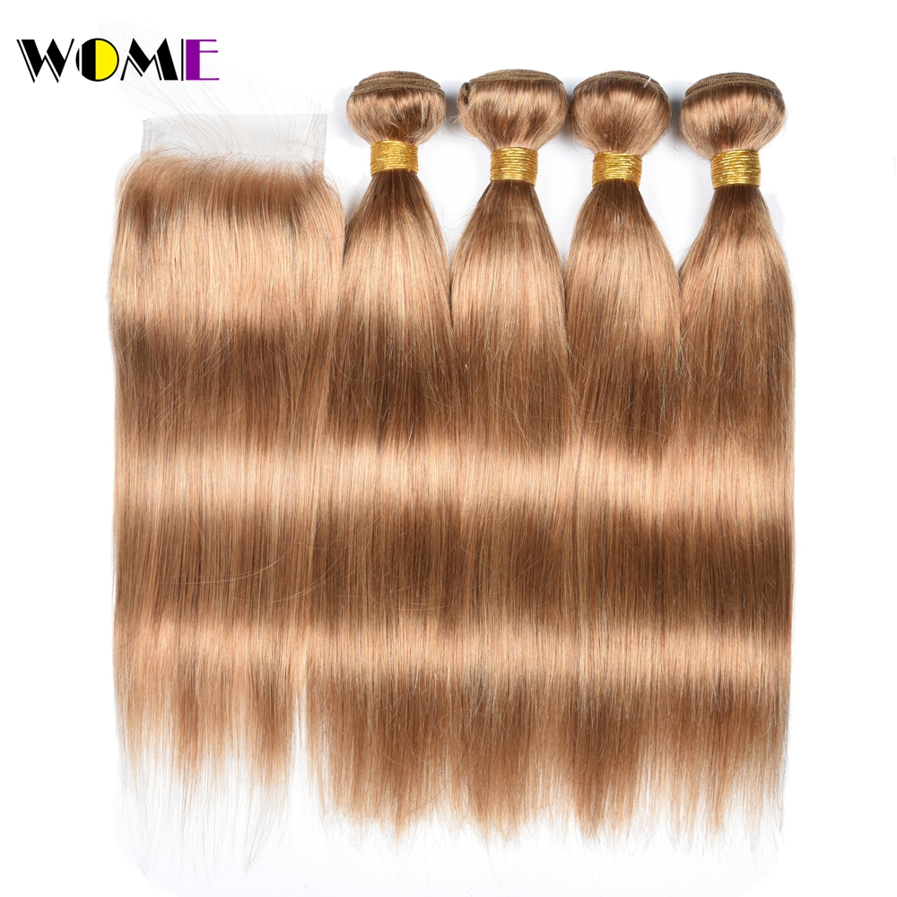 Wome Straight Honey Blonde Bundles With Lace Closure 27 Peruvian Human Hair Weave 4PCS Double Weft