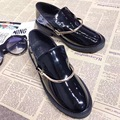 2017 New Arrival Round Toe Flat Shoes Patent Leather Metal Decoration Low Top Shoes