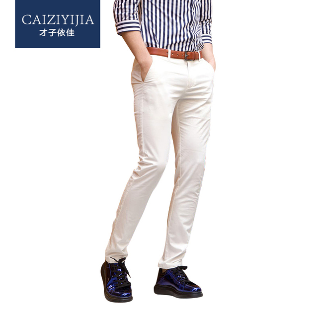 Summer 2016 Men's White Slim Fit Straight Leg Casual Pants Flat-Front Flowers Spliced Mid-waist Cotton Brand Trouser
