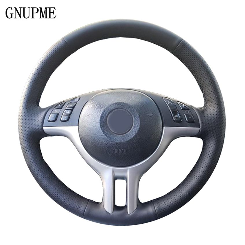 GNUPME Quality DIY Customized Hand-Stitched Black Artificial Leather Car Steering Wheel Cover For BMW E39 E46 325i E53 X5 X3
