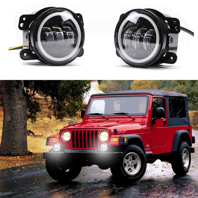 ФОТО 4 Inch Round Fog Lights DRL Projector Lens Angel Eyes Led Fog Lamp 30w With Halo For Offroad Jeep Wrangler Jk Harley Daymaker