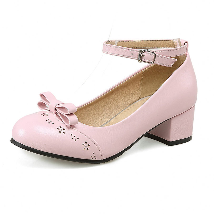 Wedding Sandals Women Low Top Ankle Strap Mary Janes Shoes Chunky High Heels Evening Party Pumps Casual Shoes Lady Office Shoes in Women 39 s Pumps from Shoes