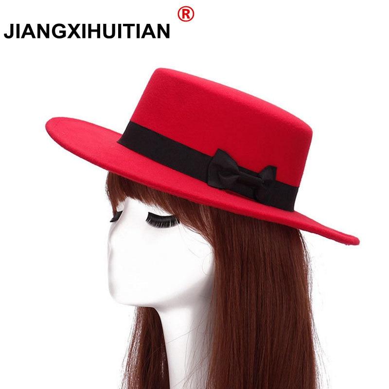 2017 Gd  Vintage Big Felt bow Caps Men and Women Sun Visor Hat Lady Bowler Fedora Hat Along The Plate Flat Wide Brim Woolen Hats