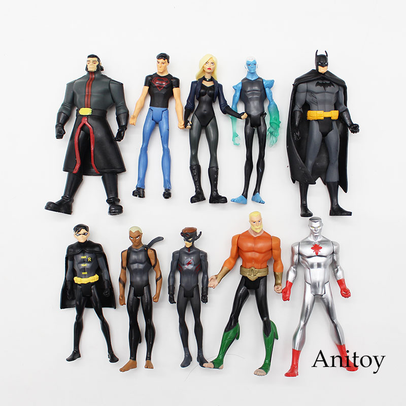 все цены на  10pcs/set DC Comics Super Hero Superman Black Canary PVC Action Figure Collectible Model Toy 11cm KT3588  онлайн