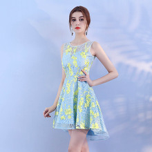 Luxury Sexy Knee Length Short Elegant  Blue N Yellow Cocktail Dresses Short Formal Cocktail Dress Party Graduation Dresses 1970