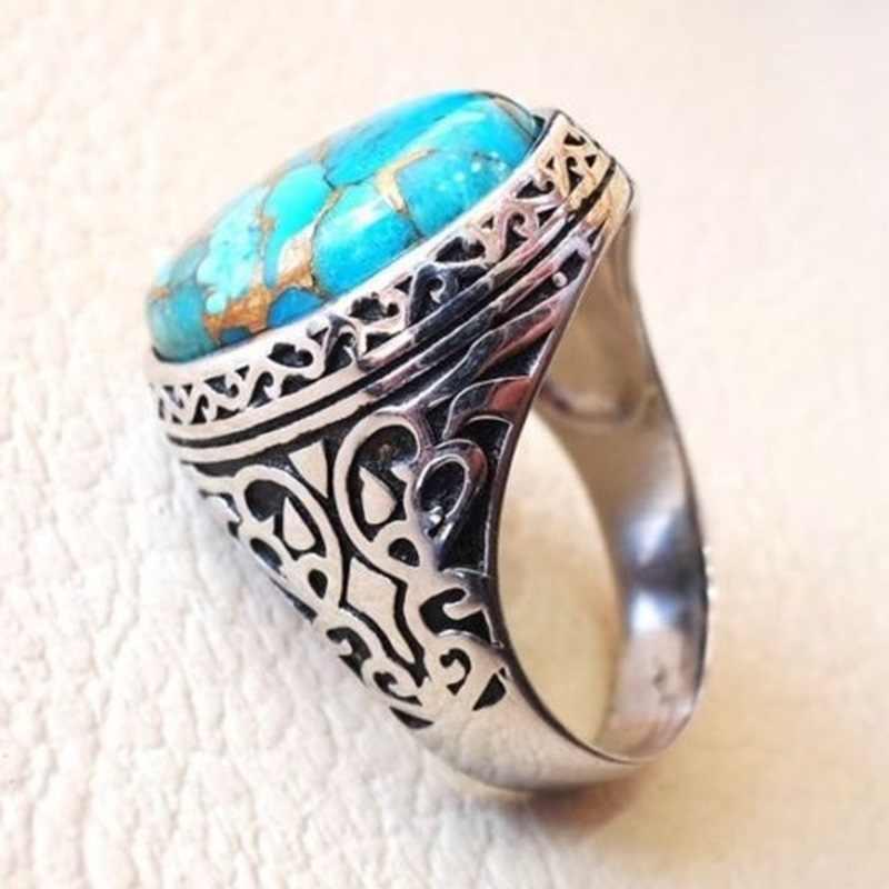 OMHXZJ ขายส่งยุโรปผู้หญิงผู้หญิงแฟชั่นผู้หญิงงานแต่งงานของขวัญเงินสีดำสีเขียวรูปไข่ Turquoise Taiyin แหวน RR331