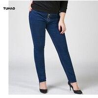 High Waist Office Woman Denim Pencil Pants 2018 Plus Size 5XL 6XL 7XL Big Size Jeans Pants Women Jeans Casual Female Pants PT12