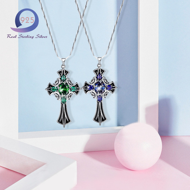 Merthus 925 sterling silver chain with lab created emerald cross merthus 925 sterling silver chain with lab created emerald cross pendant necklace fashion women lady mozeypictures Image collections