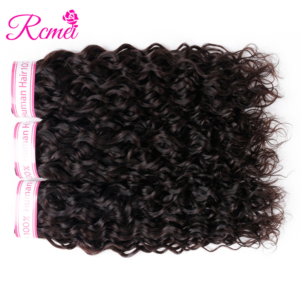 Rcmei Indian Water Wave Hair Weave Bundles 3 PCS Non Remy Human Hair Weaving Natural Color 8-28 inch Hair Extension Double Weft