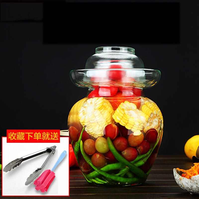 Прозрачная утолщенная стеклянная маринованная бутылка, пищевые запечатанные банки, бытовой контейнер для хранения пищи, ночные пятна, маринованный капустный бак, новый