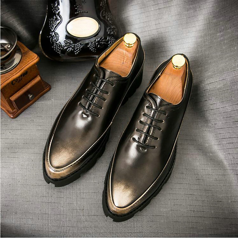 Classic Gentleman Formal Dress Shoes For Male Increase Thick Bottom New 2019 Men Business Shoes Men Formal Oxford Shoes A51-81
