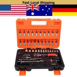 46 teile/satz Buchse Spanner Set 1/4 Stick Metric Verlängerung Bar mit Box Auto Reparatur Werkzeug Ratsche Drehmoment Wrench Automobil werkzeuge Kit