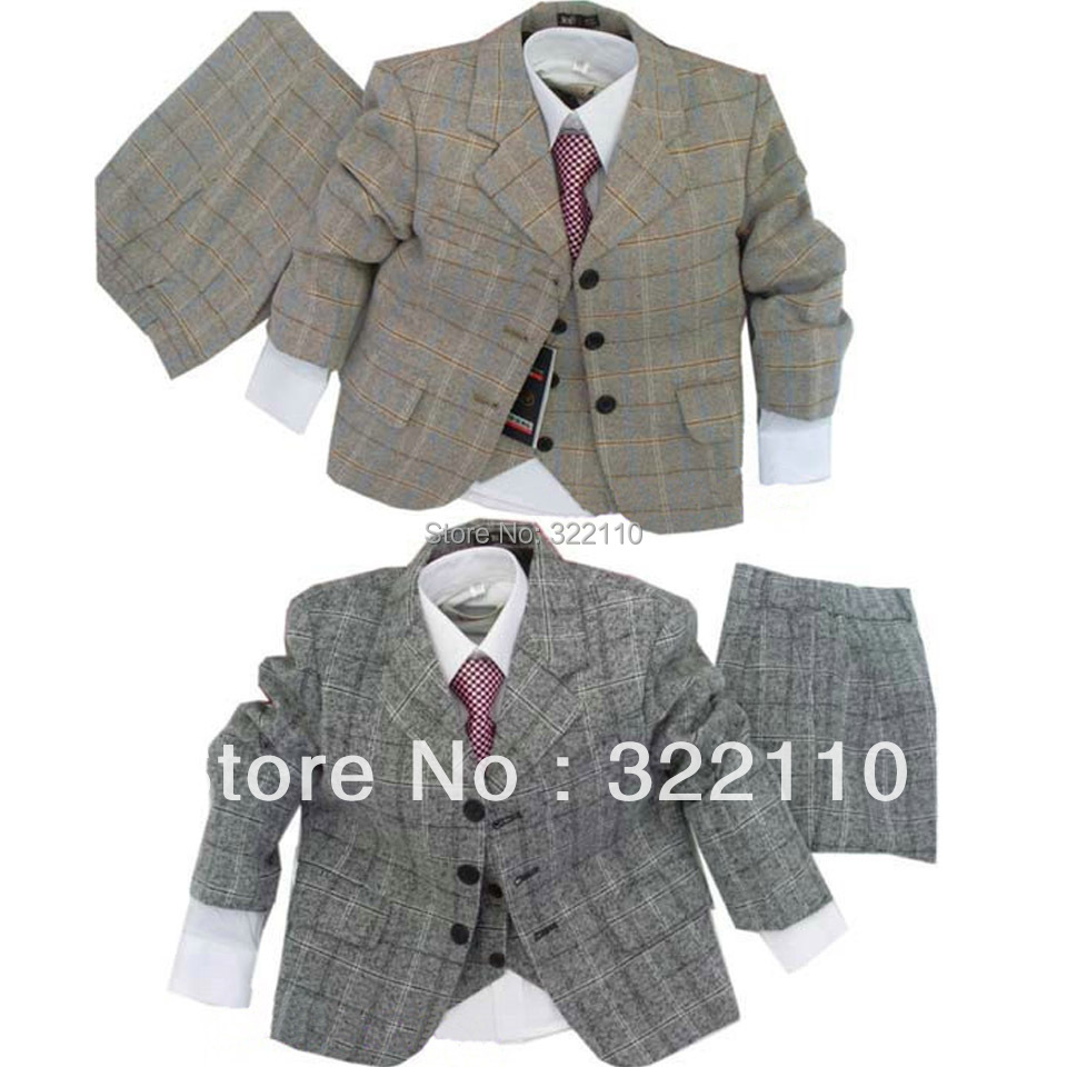Kids Clothes Boys Wedding Suits Grey and Yellow Plaid Formal Tuxedo for Children 3PCS Terno for Party/Education/Occasion  недорого