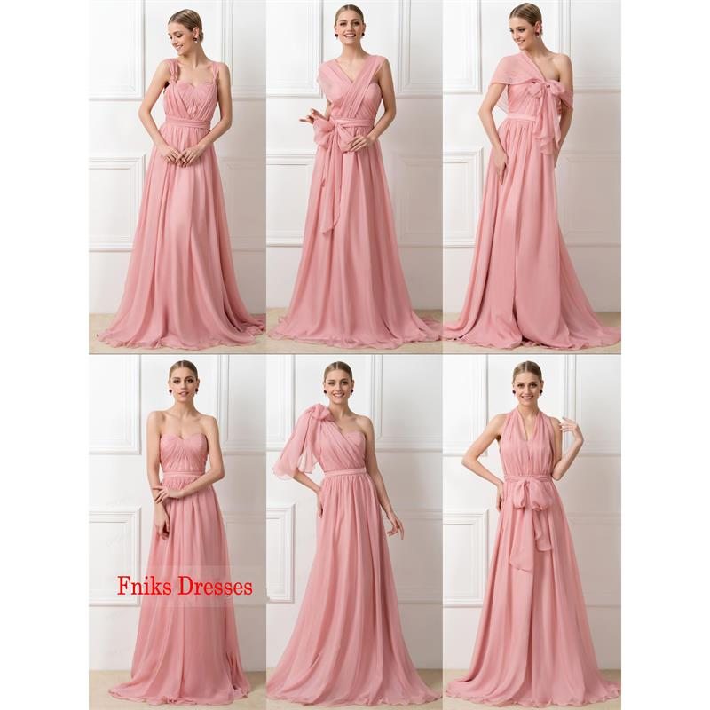 2016 pink long bridesmaid dresses with convertible straps for Long dress for wedding party