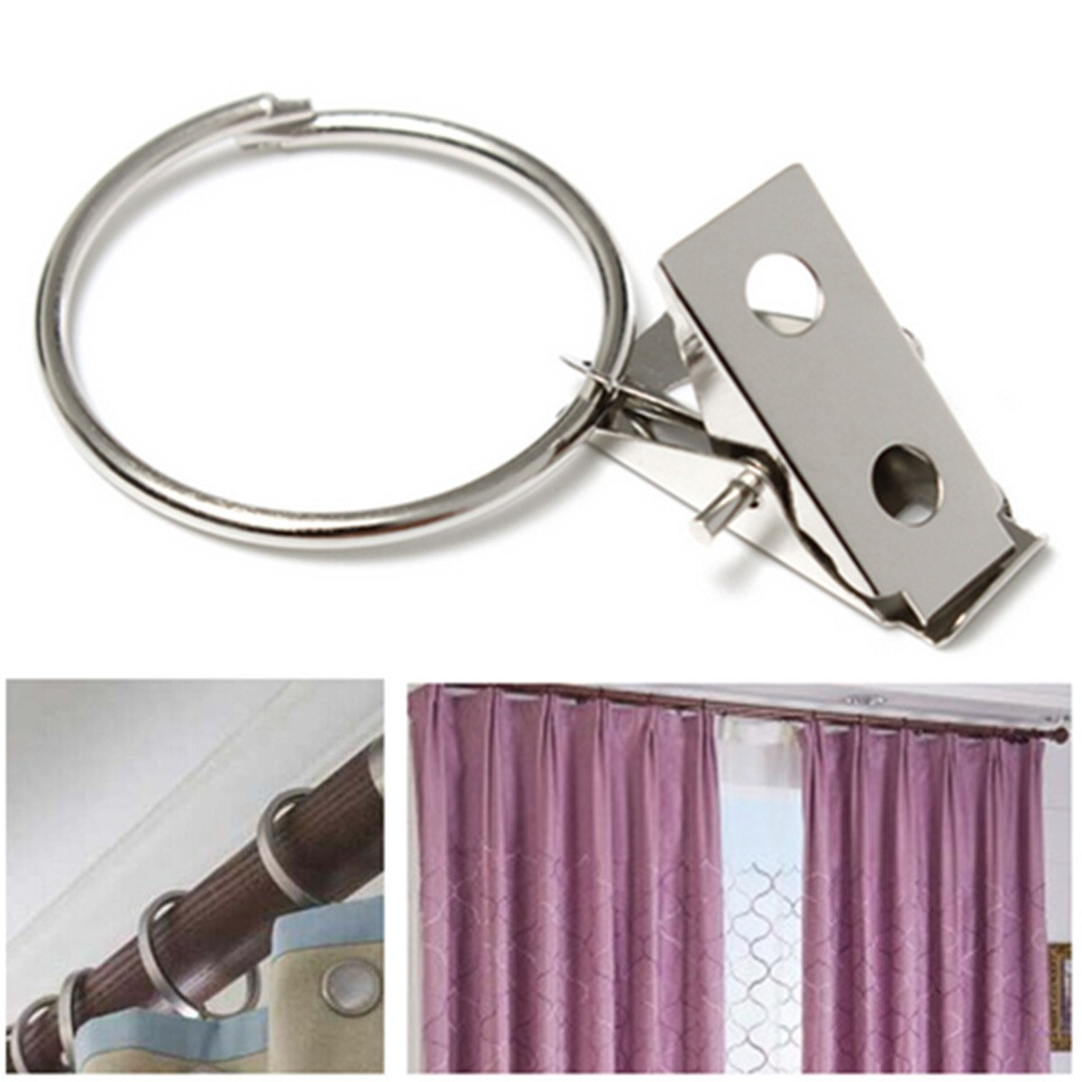 Practical 10pcs Metal Hooks Window Shower Curtain Rod Clip Drapery Clamp Rings  Curtain Accessories  Curtain Rod Rings