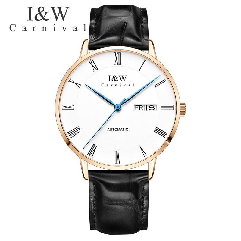Карнавал I & W ультра тонкий автоматические часы для мужчин кожаный ремешок деловые часы для мужчин s сапфировое стекло часы Roma номер коль saati