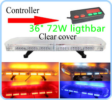 Higher star DC12/24V,72W,90cm Led Emergency lights, warning lightbar with controlle for police ambulance firemen,waterproof