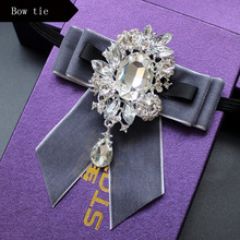 Wedding Groom bow tie suede ribbon Bowtie diamond fashion British butterfly ties for men cravate pour homme suits accessories 2019 fashion bow ties for groom men butterfly colorful bowtie creative feather decor bowtie men s suit s accessories