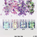 1 Box Glitter Powder Tips Pink Purple 1mm & 2mm & 3mm Mixed Powder Nail Decoration