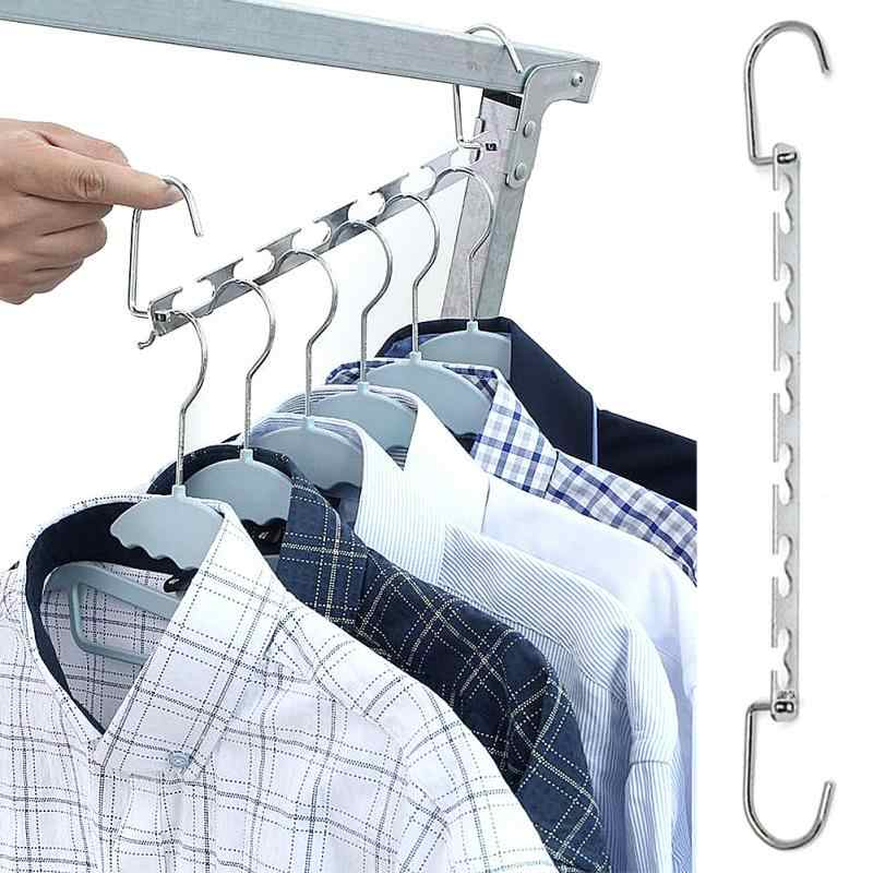 1Pcs 37cm Multifunctional Metal Clothes Closet Hangers Clothing Organizer Clothes Drying Rack with Hook Space Saving