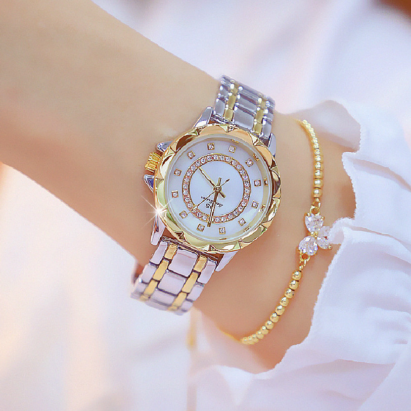 BS Famous Brand Gold And Silver Color Ladies Watch Women Dress Watches Reloj Mujer 2019 Girl Fashion Casual Watch Zegarek Damski