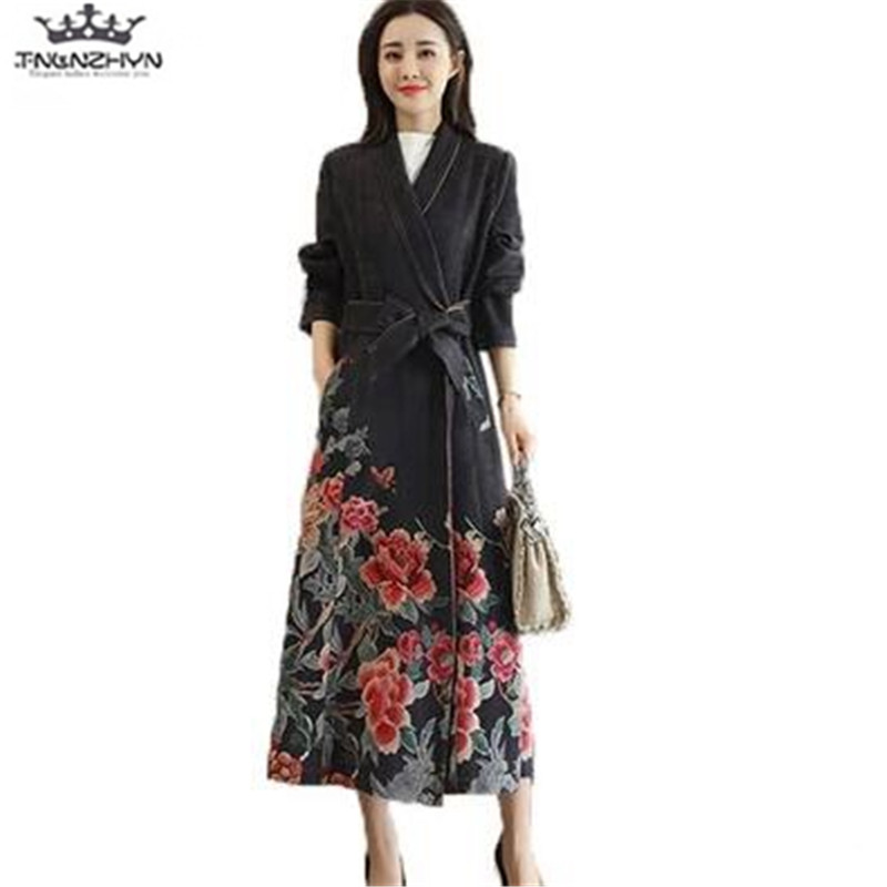 tnlnzhyn 2019 New Spring Autumn Women Suede Windbreaker Coat Vintage Floral Printing   Trench   Coat Women Slim long Outerwear Y1167