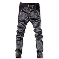 Men's Jeans Patchwork Leather Pants Men Fashion Casual Pant Male Slim Fit PU Leather e Pants Punk Rock Stage Show Clothing