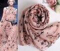 Multi lenço de Seda Da Marca de luxo Mulheres de Verão 100% De Seda macia impressão FiveStar Rosa Senhoras Lenços De Seda e Xales de Praia Vocação envoltório