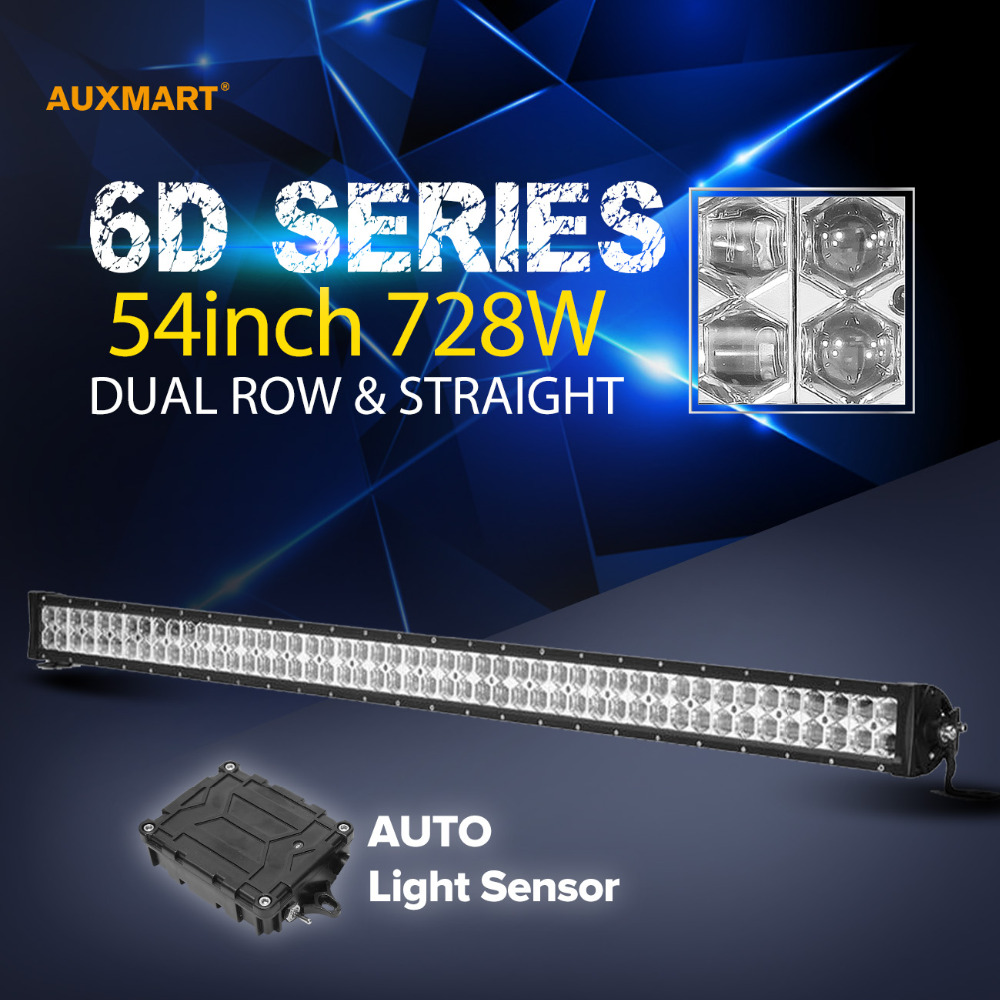 Auxmart 6D 54 728W LED font b Light b font Bar Cree Chips Combo Beam Bar