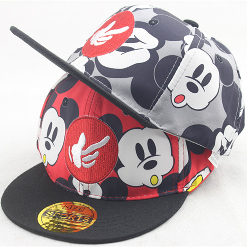 Color Printing Cartoon Mouse Mickey Children   Baseball   Hat Baby Outdoor Travel Flat Along Hip Hop Hat Shade   Baseball     Caps   For Kid