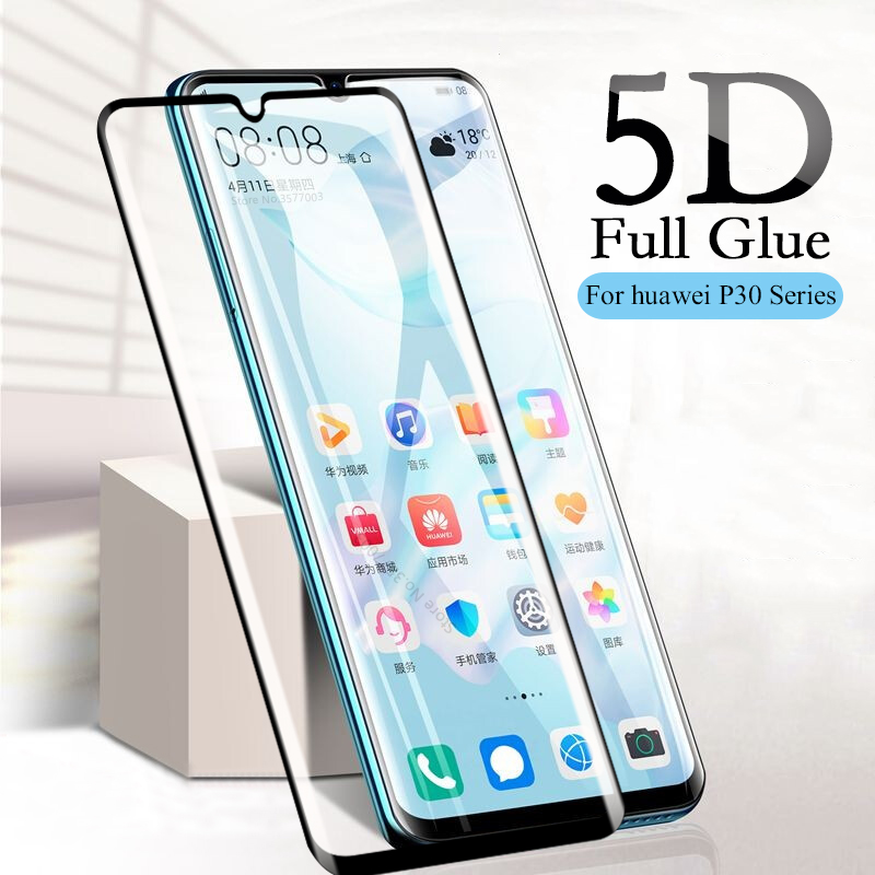 5D Curved Edge Tempered Glass For Huawei P30 Pro Case Screen Protector On For Huawei P30 Lite Light P 30 P30pro Protective Film