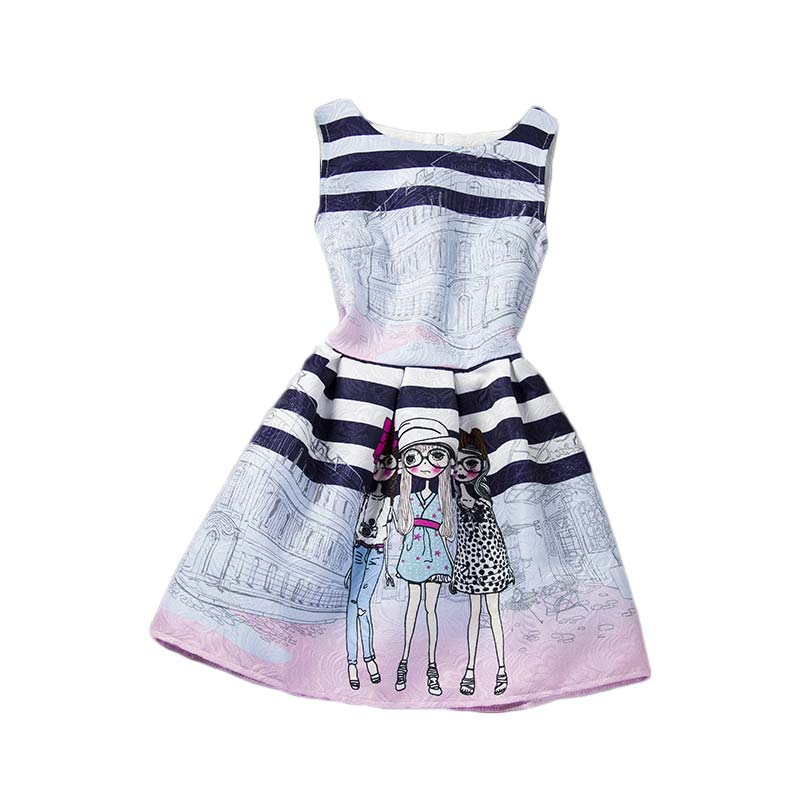 Cartoon <font><b>Summer</b></font> Sleeveless <font><b>Girls</b></font> Print <font><b>Dress</b></font> <font><b>Girl</b></font> Clothing <font><b>Girls</b></font> <font><b>Dress</b></font> <font><b>For</b></font> <font><b>Girls</b></font> 6 7 8 9 10 11 <font><b>12</b></font> <font><b>Years</b></font> <font><b>Old</b></font> Kids image