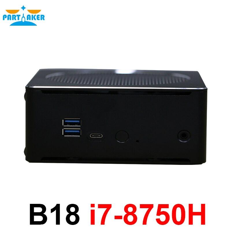 Partecipe B18 DDR4 RAM Caffè Lago 8th Gen Mini PC Con Processore Intel Core i7 8750 H Intel UHD Grafica 630 mini DP HDMI WiFi