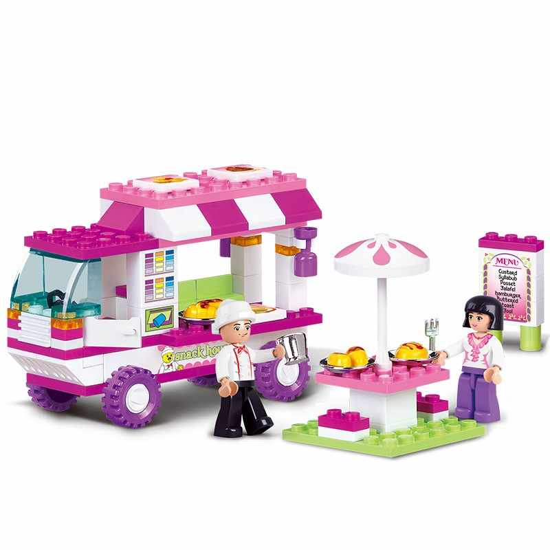 Girl Friends Snack Car Delivery Car Compatibie Building Blocks Toy Kit DIY legoinsy Educational Children