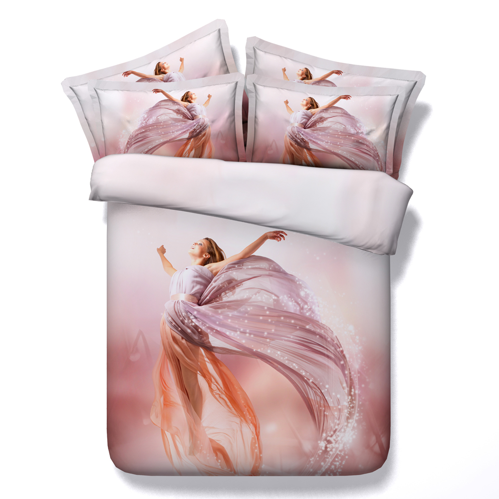 Bedding sets for women - 3d Printing Romantic Comforter Bedding Set Queen King Twin Pink Fly Women Duvet Cover 4