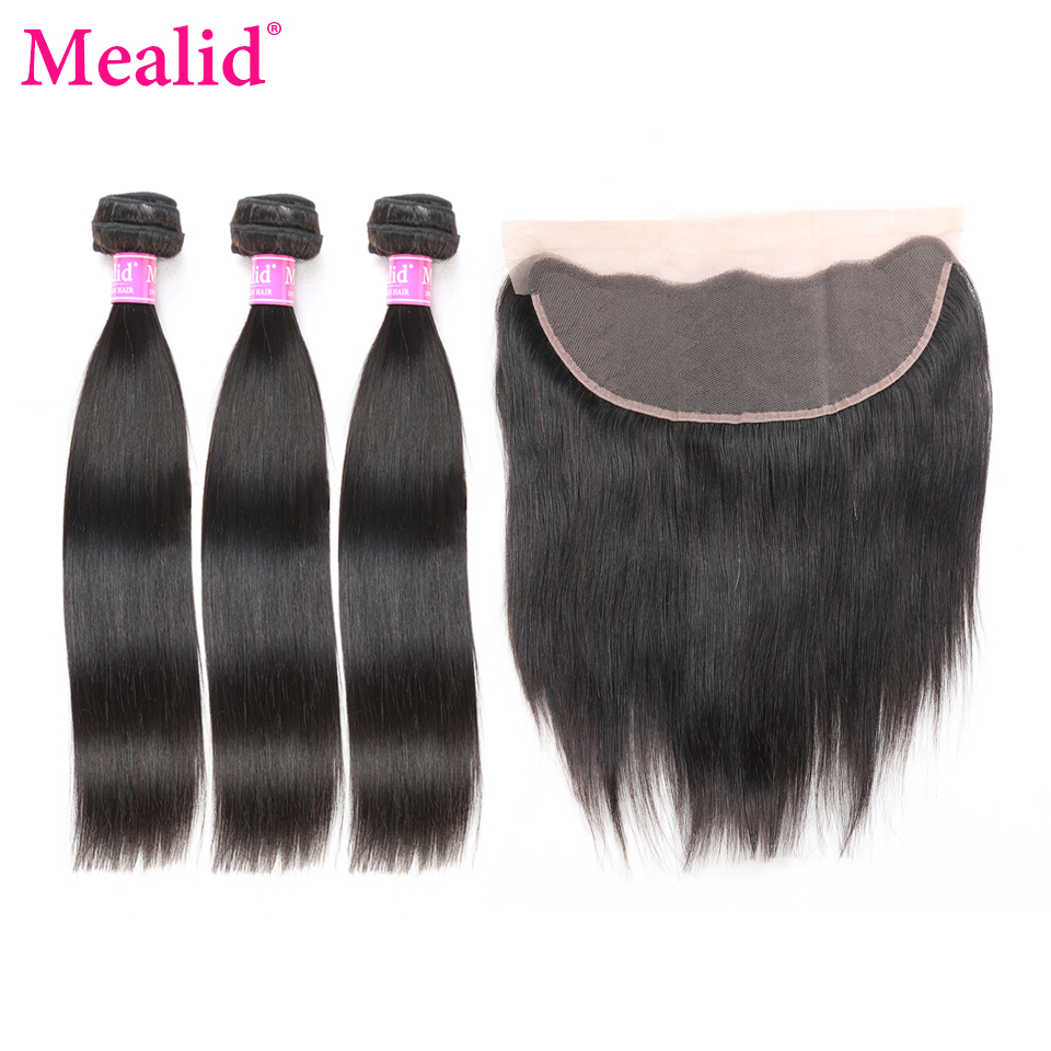 [Mealid] Brazilian Straight Hair Lace Frontal Closure With Bundles Non-remy 3 Bundles Human Hair Bundles With Closure Free Part