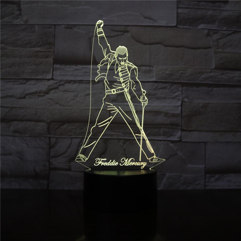 British Singer Freddie Mercury Figure 3d Led Night Light Lamp Nightlight for Office Home Decoration Best Fans Gift Dropshipping