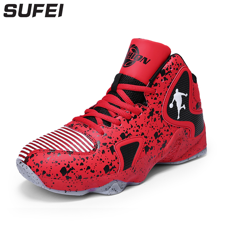 sufei Men Breathable Basketball Shoes Anti-Slip Outdoor Athletic Wearable Cushioning Female High Top Sport Boots Sneakers peak men athletic basketball shoes tech sports boots zapatillas hombres basketball breathable professional training sneakers