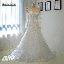 Dài Tay Áo Ren Appliques Wedding Dress 2019 Các Mẫu Thực 100% giống như trên hình ảnh
